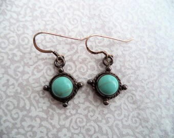Turquoise and silver earrings/ vintage small round turquoise earrings/ sterling silver small dangle earrings