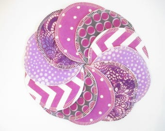 Cloth Nursing Pads--5 Pairs--Purple Pattern Mix--Fleece/ZorbII/Flannel--Ready to Ship