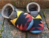 SALE // Scout Baby Moccasin 2T-3T // Multi-Color Pendleton Wool Brown Leather // Rosebud Originals