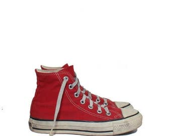 SALE 3 1/2 | Boys Vintage Red Converse Shoes Hi Top Chuck Taylor All Star Athletic Shoes Made in the USA