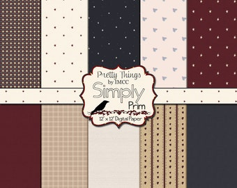 Primitive Prim Digital Download Paper Pack Rustic Vintage 12x12 Backgrounds Stars Stripes Hearts Scrapbooking Clipart Small Business Use