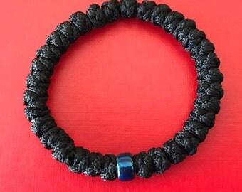 Super Sturdy Eastern 33 Knot Orthodox Prayer Rope With Titanium Blue/Purple Glass Bead