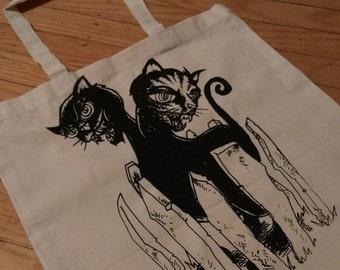 2-Headed Cat - Cat With Two Heads by Casey C-P Illustration - Hand-Printed Tote -  Designed and hand printed with love in Portland Oregon