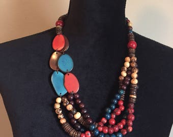 Multi-Strand Necklace/ Tagua Necklace/ Acai Seed Necklace / Ecofriendly and Ecofashion Jewelry