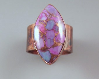 Purple Turquoise- Marquise Shape- Purple Jewelry- Unique Gemstone- Colorful Patina- Metal Art Ring