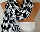 ON SALE --- Teacher Gift Heart Printed Cotton Scarf Shawl Oversized Scarf Pashmina Cowl Scarf Gray - White - Black  best selling item scarf