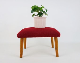 Vintage Red Soft Fabric Padded Wooden Stool