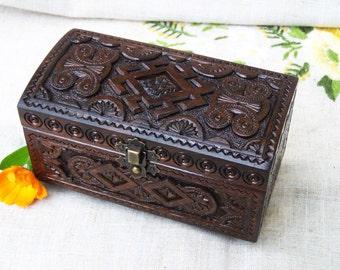 Wooden box Jewelry box Ring box Wood box Wedding ring box Black ring box Black magic Wood carving Jewellery box Wood carving Box wood B23