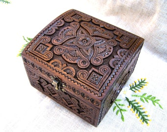 Wedding jewelry box Large wooden box Ring box Wood box Jewellery box Wood carving Wedding gifts wooden box Jewelry boxes schatulle B58