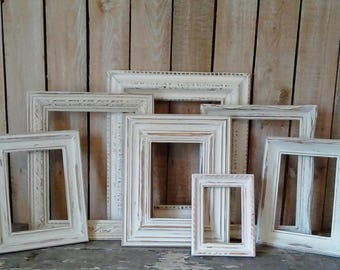 PICTURE Frames, Rustic Frame Set, Wall Gallery, Off White frames, Shabby Cottage, Rustic Home, Urban Farmhouse Wall decor