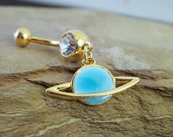 Saturn 14kt Gold Belly Button Ring Rings Glow In The Dark