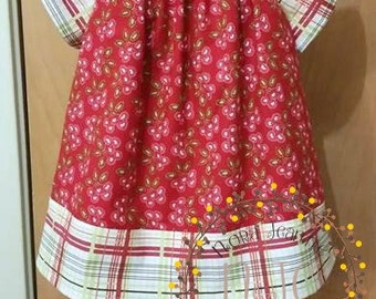 Red Heart Cherries and Plaid Peasant Tunic for Girls - Ready to Ship