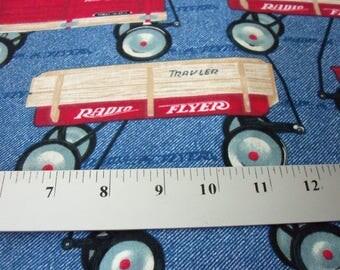 Radio Flyer Fabric Red Wagon Rare HTF Fat Quarter New BTFQ