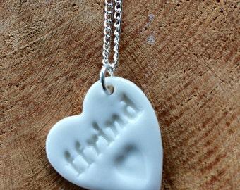 Ffrind Ceramic Heart Pendant.Welsh Love Heart Necklace .Porcelain Heart Pendant .Friend/Ffrind .Gift idea Handmade .Made in Wales,Uk.