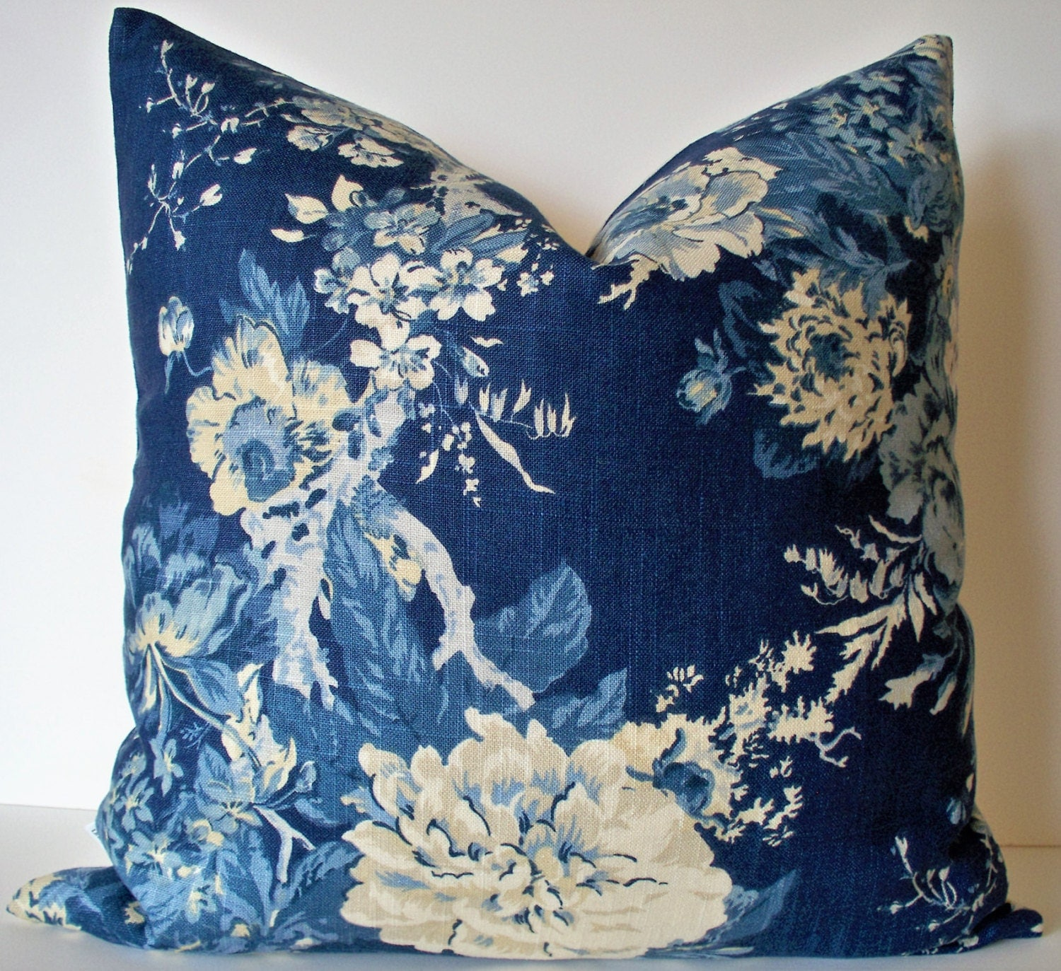 Blue Floral Pillow Cover French Country Blue Blue Farmhouse
