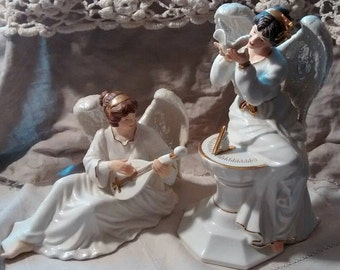 Angels Pair Porcelain Musician Dove Mandolin Collectible Vintage Ivory Cream Christmas Gift Religious Time Dial