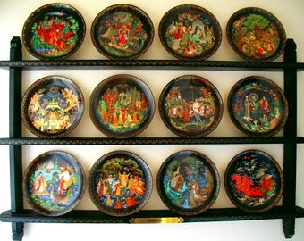 Complete Set of Russian Legends Collector Plates with Designated Display Shelf Bradford Exchange Porcelain 18K Gold Trim Plates Series of 12