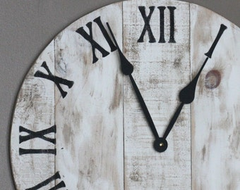 "Farmhouse Style Round Wall Clock. 18""  White Shabby Chic Distressed.New Pine Made to look like reclaimed pallet or barn wood"