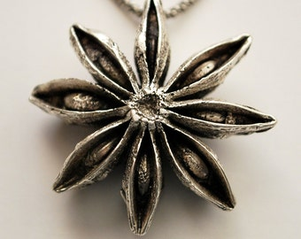 Star Anise Cast in Sterling Silver Pendant Necklace