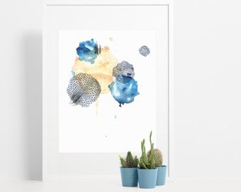 Abstract Watercolor Art Print / Indigo Blue & Peach Splatter Painting / Modern Minimalist Decor