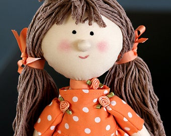 Polka Dot Fabric Doll, Rag Doll, Flower Girl