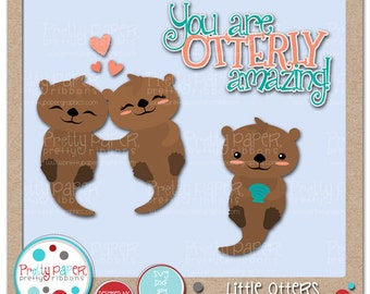 Little Otters Cutting Files & Clip Art - Instant Download