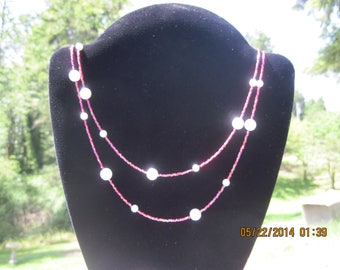 OOAK Extra Long Single Strand Ruby Red w/ Pearlsque Beaded Necklace...736h