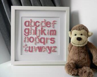 Wooden Alphabet Nursery Decor, Nursery Wall Art, Nursery Rhyme Wall Art, Baby Room Wall Art, Baby Room Decoration, Alphabet Nursery Art