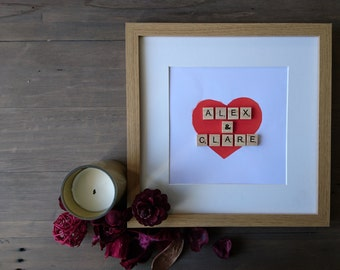 Valentine's Day, Scrabble Art, Personalised, Wedding present, Anniversary present, Home Decor, Love, Heart, Valentine's Gift, Wall Hanging