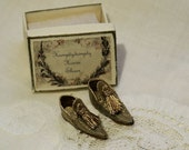 Miniature oriental slippers for men - Babouches -bronze brocade silk