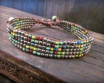 Adjustable Bead Loom Bracelet, Silver and turquoise boho bracelet, Country Western Bohemian