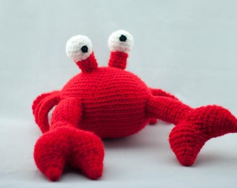 Cool and Cute Stuffed Crustacean Toy, Bright Red Crochet Amigurumi Crab with Eye Stalks, Crabby Ocean Toy, Large Stuffed Red Crab