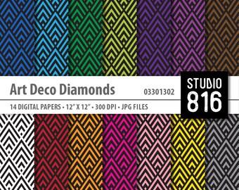 Art Deco Diamonds - Digital Paper for Scrapbooking, Cardmaking, Papercrafts #03301302