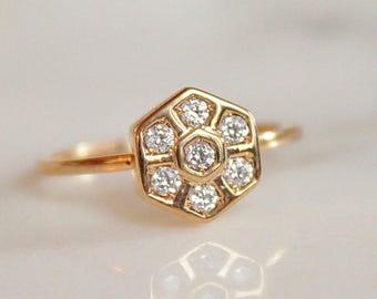 Hexagon Stacking Ring - Honeycomb Ring - Gold Ring - Gold White Topaz Ring