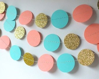 Paper Circle Garland in Teal, Coral and Gold, Double-Sided, Bridal Shower, Baby Shower, Party Decorations, Birthday Decor
