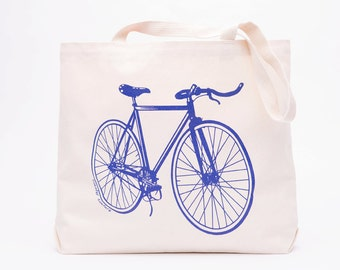 Fixie Bicycle Large Canvas Shopper Tote - Canvas Tote Bag - Screen Printed Cotton Grocery Bag