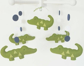 Baby Crib Mobile- alligator Mobile- Navy green Mobile-Crocodrille mobile-madras alligator custom Made Mobile