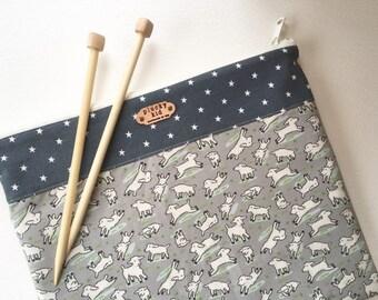 Lamb Print Sock Project Bag