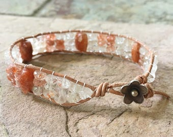 Sunstone Bracelet Orange Gemstone Bracelet Sunstone Jewelry Sunstone Gemstone Bracelet Leather Beacelet Summer Jewelry Boho Bracelet Only 1
