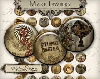 Steampunk Christmas Circles printable 1 inch circles jewelry making handmade pendant digital download instant download collage - VDCIST0041
