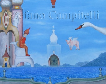 Campitelli original oil painting on canvas surreal fantasy Art pop surrealism