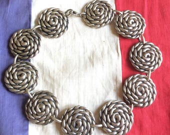 Vintage French Couture Paris marked stunning Silver Coloured heavy Short Collar/ Bib Necklace