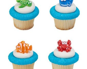 12 Beach Cuties Cupcake Cake Rings Birthday Party Favors Toppers