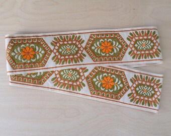 destash vintage embroidered ribbon, wide woven  trim