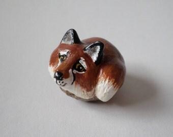Miniature  fox figurine  animal totem, sculpture #161