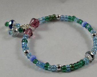 Blue/Green Bracelet with Violet Accents
