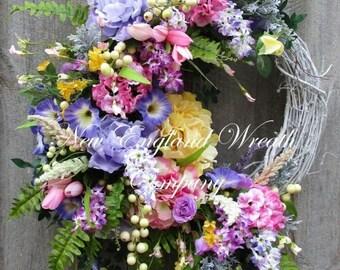 ON SALE Spring Wreath, Easter Wreath, Summer Wreath, Designer Floral Wreath, Victorian Garden Wreath, Country French Wreath, Elegant Spring