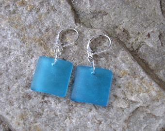 blue sea glass ear rings square beach glass jewelry  earrings-bridesmaid earrings lever back ear wires