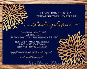 Bridal shower Invitation,Wedding Shower Invitation,Navy, Gold, Wedding Shower Invite,digital, printable file, 5410