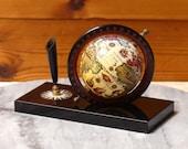 Vintage Mid Century 1960's Pictorial Old World Globe Pen Holder / Desk Ornament